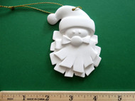 "White plaster ornament - Santa Face - ready for painting. Includes gold hanging cord - 3"" approx"