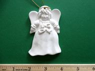 "White plaster ornament - Angel - ready for painting. Includes gold hanging cord - 3"" approx"