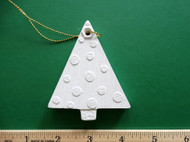"White plaster ornament - Tree - ready for painting. Includes gold hanging cord - 3"" approx"