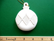 "White plaster ornament - Ball, Bauble, with Diamond Design - ready for painting. Includes gold hanging cord - 3"" approx"