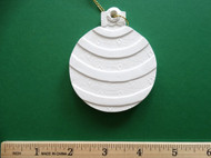 "White plaster ornament - Ball, Bauble, with Stripe Design - ready for painting. Includes gold hanging cord - 3"" approx"