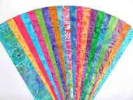 "Batik Fabric Jelly Roll Strip Pack -20 Strips, Die Cut, No Duplicates 100% top quality cotton fabric 20 Different fabrics, 1 strip of each Strips measure 2.5"" x width of fabric (42/44"" approx) Strips are folded and shipped flat"
