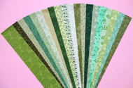 "Green Fabric Jelly Roll Strip Pack -20 Strips, Die Cut, No Duplicates. 100% top quality cotton fabric. 20 Different fabrics, 1 strip of each. Strips measure 2.5"" x width of fabric (42/44"" approx). Strips are folded and shipped flat."