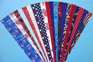 "Patriotic Fabric Jelly Roll Strip Pack -20 Strips, Die Cut, No Duplicates. 100% top quality cotton fabric. 20 Different fabrics in red, blue and white, 1 strip of each. Strips measure 2.5"" x width of fabric (42/44"" approx). Strips are folded and shipped flat. PATRgd"