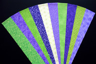 "Green Purple Fabric Jelly Roll Strip Pack -20 Strips, Die Cut 100% top quality cotton fabric. 10 Different fabrics, 2 strips of each. Strips measure 2.5"" x width of fabric (42/44"" approx). Strips are folded and shipped flat."