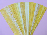 "Yellow Fabric Jelly Roll Strip Pack -20 Strips, Die Cut, No Duplicates. 100% top quality cotton fabric. 20 Different fabrics, 1 strip of each. Strips measure 2.5"" x width of fabric (42/44"" approx). Strips are folded and shipped flat."