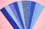 "BLUE Fabric Jelly Roll Strip Pack -20 Strips, Die Cut 100% top quality cotton fabric. 10 Different fabrics, 2 strips of each. Strips measure 2.5"" x width of fabric (42/44"" approx). Strips are folded and shipped flat."