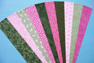 "GREEN PINK Fabric Jelly Roll Strip Pack -20 Strips, Die Cut 100% top quality cotton fabric. 10 Different fabrics, 2 strips of each. Strips measure 2.5"" x width of fabric (42/44"" approx). Strips are folded and shipped flat."