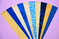 "Blue & Yellow Fabric Jelly Roll Strip Pack -20 Strips, Die Cut,  100% top quality cotton fabric. 10 Different fabrics, 5 Blue, 5 Yellow, 2 strips of each. Strips measure 2.5"" x width of fabric (42/44"" approx). Strips are folded and shipped flat."