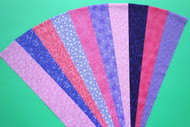 "PINK PURPLE LILAC Fabric Jelly Roll Strip Pack -20 Strips, Die Cut 100% top quality cotton fabric. 10 Different fabrics, 2 strips of each. Strips measure 2.5"" x width of fabric (42/44"" approx). Strips are folded and shipped flat."