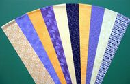 "PURPLE LILAC YELLOW LEMON Fabric Jelly Roll Strip Pack -20 Strips, Die Cut 100% top quality cotton fabric. 10 Different fabrics, 2 strips of each. Strips measure 2.5"" x width of fabric (42/44"" approx). Strips are folded and shipped flat."