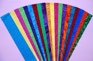 """JEWEL TONES Fabric Jelly Roll Strip Pack -20 Strips, Die Cut, No Duplicates. 100% top quality cotton fabric. 20 Different fabrics, 1 strip of each. Strips measure 2.5"""" x width of fabric (42/44"""" approx). Strips are folded and shipped flat."""