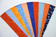 "Blue Orange Fabric Jelly Roll Strip Pack -20 Strips, Die Cut 100% top quality cotton fabric. 10 Different fabrics, 2 strips of each. Strips measure 2.5"" x width of fabric (42/44"" approx). Strips are folded and shipped flat."