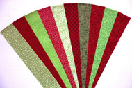 "Red Green Fabric Jelly Roll Strip Pack -20 Strips, Die Cut 100% top quality cotton fabric. 10 Different fabrics, 2 strips of each. Strips measure 2.5"" x width of fabric (42/44"" approx). Strips are folded and shipped flat. (#YD))"