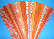 "Orange Fabric Jelly Roll Strip Pack -20 Strips, Die Cut, No Duplicates. 100% top quality cotton fabric. 20 Different fabrics, 1 strip of each. Strips measure 2.5"" x width of fabric (42/44"" approx). Strips are folded and shipped flat."