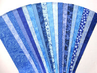 "Blue Fabric Jelly Roll Strip Pack -20 Strips, Die Cut, No Duplicates. 100% top quality cotton fabric. 20 Different fabrics, 1 strip of each. Strips measure 2.5"" x width of fabric (42/44"" approx). Strips are folded and shipped flat."