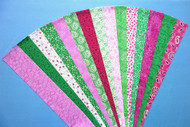 Fabric Jelly Roll Strip Pack, 7 green strips, 8 pink strips, all cotton