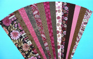 Fabric Jelly Roll Strip Pack, 8 brown strips, 7 pink strips, all cotton