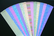 15 different fabric jelly roll strips in pretty pastel colors pink, blue, lemon, green, lilac and teal No Duplicates