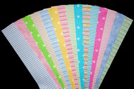 15 different fabric jelly roll strips in pretty pastel colors pink, blue, lemon, green, lilac and teal Well suited for a toddler project No Duplicates