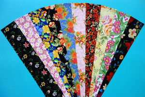 English Country Garden Fabric Jelly Roll 10 Floral Prints 2 Strips of Each Print - Total 20 Strips, 2.5 x 42/44 ins SKU JR210-ECGNyd