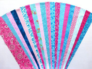 "Pink Teal Jelly Roll Strip Pack -20 Strips, Die Cut, No Duplicates. 100% top quality cotton fabric. 20 Different fabrics, 1 strip of each - 10 Pink, 10 Teal Strips measure 2.5"" x width of fabric (42/44"" approx). Strips are folded and shipped flat."