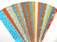 "Orange Teal Jelly Roll Strip Pack -20 Strips, Die Cut, No Duplicates. 100% top quality cotton fabric. 20 Different fabrics, 1 strip of each - 10 Pink, 10 Teal Strips measure 2.5"" x width of fabric (42/44"" approx). Strips are folded and shipped flat."
