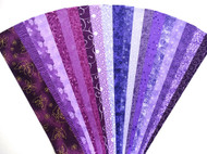 Purple Lilac Fabric Jelly Roll Quilt Strip Pack Cotton Die Cut No Duplicates (JR120-PURP120bd)
