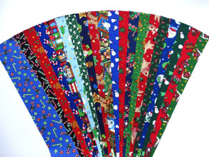 "20 Different Christmas Fabrics with Xmas Motifs in Every Strip 100% top quality cotton fabric. 20 Different fabrics, 1 strip of each. Strips measure 2.5"" x width of fabric (42/44"" approx). Strips are folded and shipped flat."