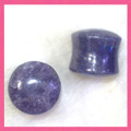 Lepidolite stone ear gauges, organic double flared plugs - 6g - 1""