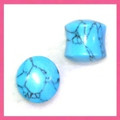 Synthetic turquoise (dyed howlite) double flared, ear gauges, organic plugs - 4g - 11/16""