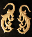 WAVE bone gauge earrings - 12g - 2g hanging, organic, ear spirals