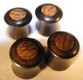 "Triple inlay ebony wood, bloodwood, zebrawood, ear plugs - 2g - 7/16"" organic double flared, mayan flared, gauges"