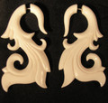 Caress 2g or 6mm fake ear gauges - faux, carved, white, bone plugs - earrings for imitation stretchings