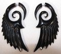 Black horn angel wings of glory, faux ear gauges - spiral, hanging earrings, fake stretched piercings