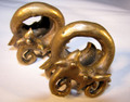 Large Dayak Borneo ear coils - brass tribal ear weights for stretched piercings