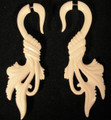 Summer Breezes faux or fake ear gauges - organic, carved, bone earrings