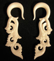Beach Break hanging ear gauges - 2g or 6mm organic bone, carved plug style earrings