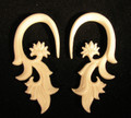 Feathered Bloom hanging, bone ear gauges - 6g, 4g, 2g, organic, spiral earrings