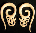 Whisper organic, bone, spiral ear gauges - 2g or 6mm white, fancy plugs