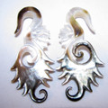 Chrysalis black shell hanging ear gauges - 6g - 2g organic, spiral, pearl, earring for stretched piercings