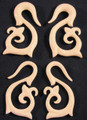 Beginnings hand carved, organic bone, spiral, hanging ear gauges -