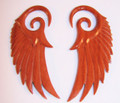 """Red Sabo wood Wings of Glory hanging ear gauges - 12g - 1/2"""" spiral plugs or spacers - organic earrings for stretched piercings"""