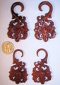 "Hand carved Pina red Sabo wood, spiral, hanging, ear gauges - 8g - 1/2"" single flare plugs"