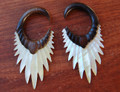 "Alpha organic, areng wood and mother of pearl, hanging ear gauges- 8g - 1/2"" hanging, shell, earrings for stretched piercings"
