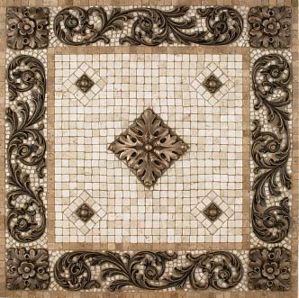 metal mural bellagio mosaic tile backsplash medallion 24 inches