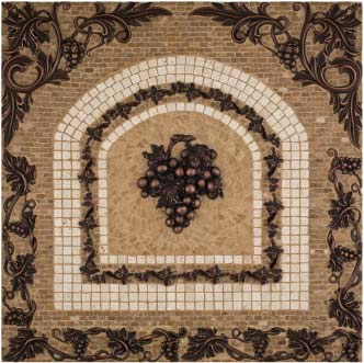 metal grape mosaic mural backsplash medallion 24 x 24