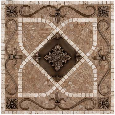 renaissance mosaic tile backsplash medallion 18 x18 mesh mounted