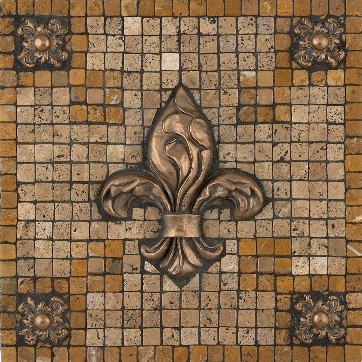 Metal mural bevano fleur mosaic tile backsplash bevano fleur mosaic tile backsplash medallion 12x12 mesh mounted dailygadgetfo Images