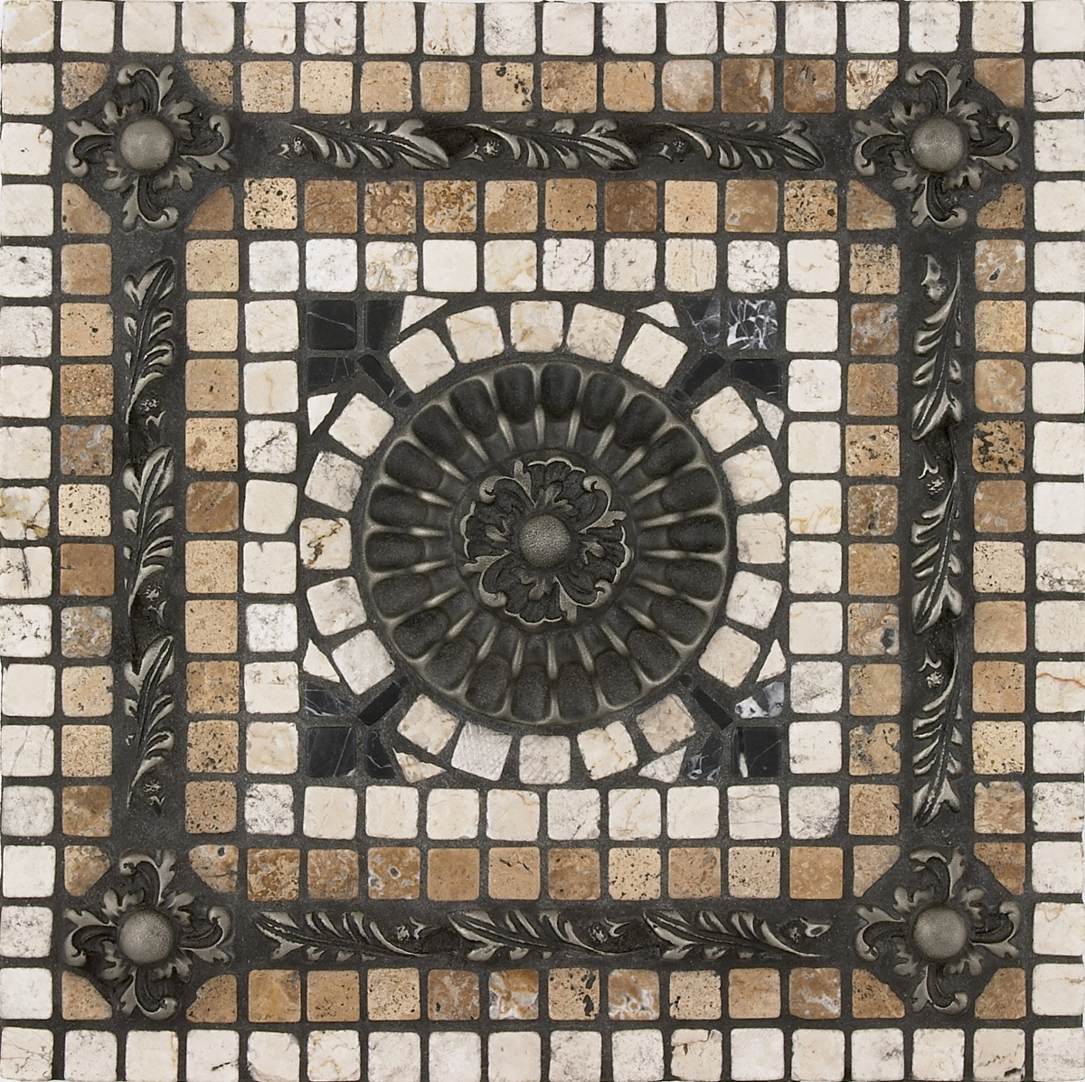 fresco mosaic tile backsplash medallion 12 x12 mesh mounted